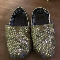 Toms Toddler Size T5 Shoe Slip on Loafers Baby Girl Gold Glitter Shimmer Photo