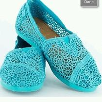Toms Turquoise Crochet Size 5 Photo