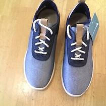 Toms Women Cabrillo Navy Denim Sneakers Round Toe Lace Up Size 7 Back Pull Tab Photo