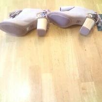 Toms Women Elba Blush Suede Front Tassel Peep Toe Sandal Size 6.5 Stack Heel 3
