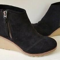 Toms Womens Avery Ankle Boots Black Suede Wedge Heel Side Zip Size- 9 Excellent Photo