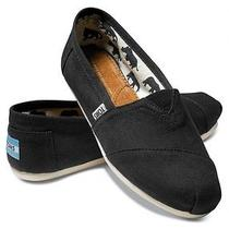 Toms Women's Classics Shoes Black Canvas Flats Slip-on Brand New Sz 7.5 Photo