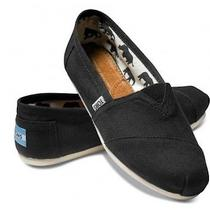 Toms Women's Classics Shoes Black Canvas Flats Slip-on Brand New Nib Sz 7.5 Photo