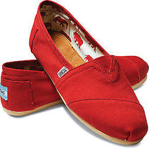 Toms Women's Classics Shoes Red Canvas Flats Slip-on Brand New Sz 6.5 Photo