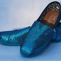 Toms Women's Glitters Turquoise Blue Glitter Size 7 Worn Twice Like New Photo