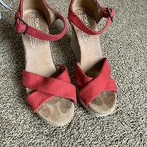 Toms Women's Red Wedge Heels Size 7 Open Toe Canvas Sandals Photo