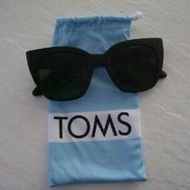Toms Women's Sunglasses Traveler Sydney Matte Black Brand With Fabric Case Photo