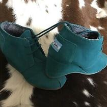 Toms Women's Teal Suede Wedge Ankle Bootie Size 7w Photo