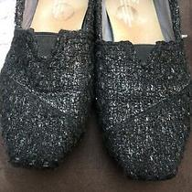 Toms Women Size 6 Black Shimmer Tweed Fall Slip-on Flats Great Condition Nice Photo
