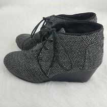 Toms Women Size 9 Desert Wedge Herringbone Black/gray Booties Boots Lace-Up Euc Photo