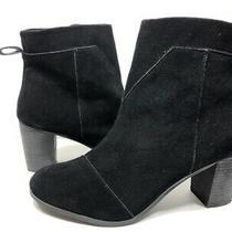 Toms Womens Booties Block Heels Shoes Black Suede Zipper Ankle Boots  12 Photo