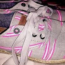Toms Womens Cordones Hot Pink Grey Washed Striped Tie on Espadrille Shoes Sz 5 Photo