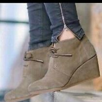 Toms Womens Desert Ankle Booties Beige Tan Suede Wedge Heel Lace Up Sz 9 Casual Photo