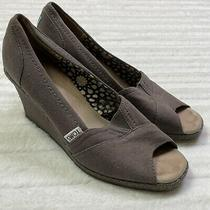 Toms Womens Gray Canvas Wedge Shoes Classic Peep Toe Sandals Sz 7 1/2 Photo