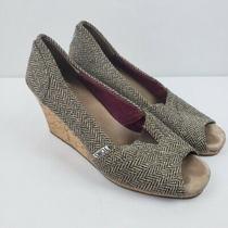 Toms Womens Heels Wedge Sz 9 Brown Gold Peep Toe Cork Slip on Canvas Herringbone Photo