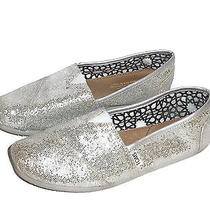 Toms Womens Size 7.5 Classic Silver Glitter Sparkle Flat Shoes Slip On Photo
