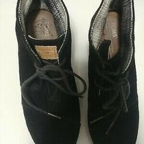 Toms Womens Size 8.5 Suede Black Wedge Ankle Booties Photo