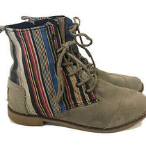 Toms Womens Sz 5 Alpa Boots Gray Suede Colorful Textile Print Lace Up Ankle Boot Photo