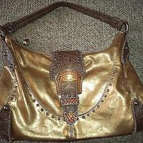 Tooled Leather Rhinestone Buckle Kathy Van Zeeland Purse Western Concealed Bag Photo