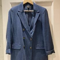 Tooshop Linen Blend Blue Double Breast Blazer Size 10 Photo