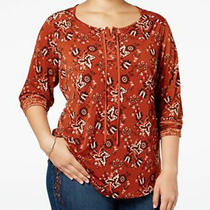 Top 2x Plus style&co 59 Nwt Batik Bloom Brown White Print Lace Up Pull on 0468 Photo