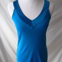 Top Banana Republic Tank Size Medium Aqua Blue v-Neck Cotton Silk Trim Photo