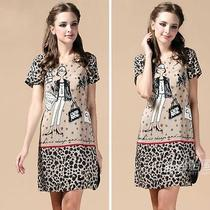 Top New Love Moschino Women's Vogue Stylish Leopard Short Sleeve Dresses Szs Photo