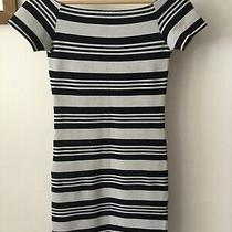 Top Shop Navy Blue & Cream Dress in Size 8 in Good Condition. Fab Bargain Photo