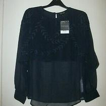 Top Shop Navy Embroidered Layered Longsleeved Blouse. Size 8. Bnwt. Rrp 38.00. Photo