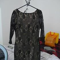 Top Shop Nude With Black Floral Lace Bodycon Long Sleeved Mini Dress Size 8  Photo