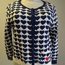 Top Shop Off White Button Front Sweater-Navy Blue Hearts & One Red Heart-8 Photo