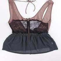 Top Shop Womens Green Brown Black Floral Lace Sheer Top Sexy Lingerie Sz 2 New Photo