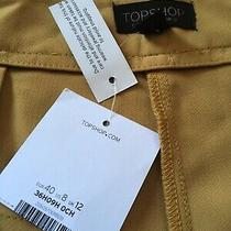 Top Shop Yellow Tan Draped Front High Rise Shorts Womens Size 8 Skirt Look Photo
