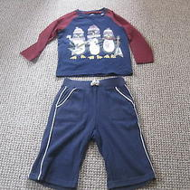 Top & Trousers Cotton Top New Tu Age 9-12 Months Baby Gap Trousers 6-12m Blue Photo