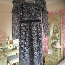 Topshop 10 Grey/black Lacey Floral Print Dress Fine Pleats v Back Exc Xmas Photo