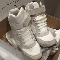 Topshop Android White Grey High Top Hidden Wedge Trainers Sneakers 37 6.5 Shoes Photo