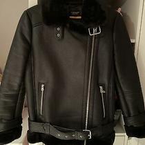 Topshop Aviator Jacket Size 6 Black  Photo