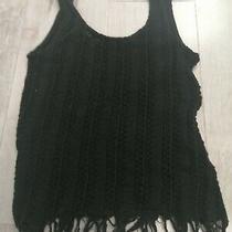 Topshop Black Crochet Style Top Size 6 Photo