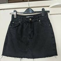 Topshop Black Denim Mini Skirt Size 8 Photo