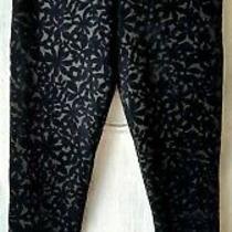 Topshop Black Floral Flocked/textured Leggings Size 6 Bnwot Photo