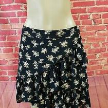Topshop Black Floral Ruffled Viscose a-Line Women's Skirt Size 6 Nwot  Photo