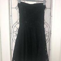 Topshop Black Lace Skater Dress Size 10 Photo