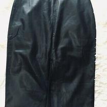 Topshop Black Leather Look Skirt Size 12 Front Vent Split Vamp Retro Pencil  Photo