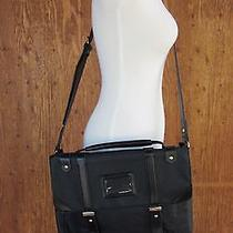 Topshop Black Messenger Buckle Bag Leather Crossbody Tote Handbag Photo