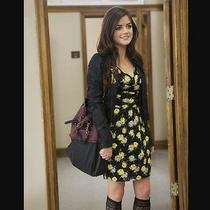 Topshop Black Yellow Rose Floral Vtg 60s Celeb Shift Tulip Skater Dress 6 2 34 Photo