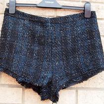 Topshop Blue Black Gold Check Tartan Fringe Formal High Waist Hot Pants Shorts S Photo
