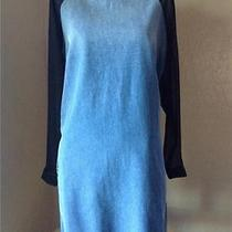 Topshop Blue Moto Chiffon Sleeve Denim Dress  Us4 Uk8 Euro36 Photo