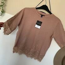 Topshop Blush Pink Lace Top T-Shirt Size 8 New Photo