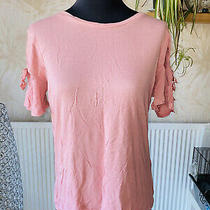 Topshop Blush Pink Open Flare Sleeve Box Top Size 8 Photo