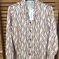 Topshop Bnwt Blush Pink Chain Print Blouse Shirt Top Size Uk 8 Photo